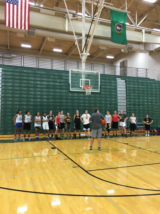 Coach Carly took some time to teach the Elena delle Donne step back and the Dirk spin and step back.