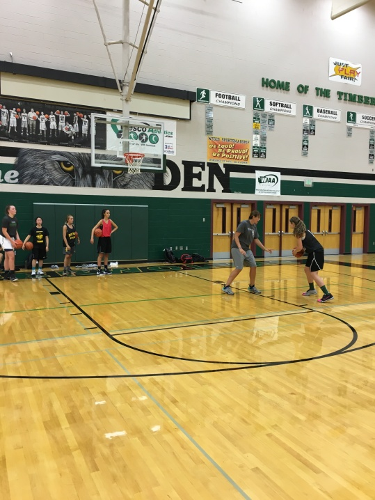 Coach Carly's station on footwork and finishing!